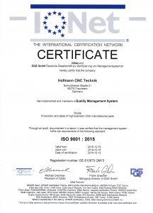 Zertifikat_ISO9001_2015_englisch_IQ_Net hofmann cnc technik traunstein